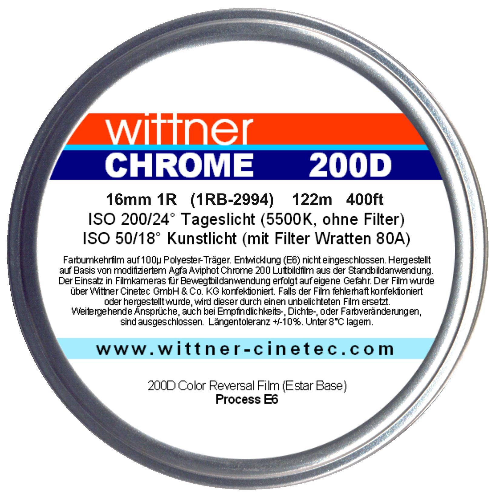 WITTNER Chrome 200D, 16mm 1R, 400ft / 122m on core - WITTNER CINE
